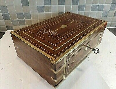 ANTIQUE 19thC ANGLO INDIAN BRASS MOUNTED INLAID ROSEWOOD BOX + TRAY- LOCK & KEY