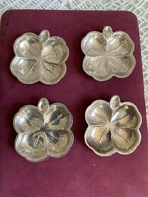 4 Lenox & Gwd Sterling Silver Butter Pats / Nut Dishes Four Leaf Clover