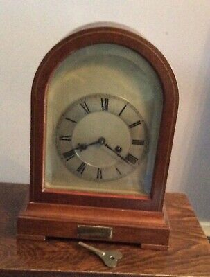 Antique Mahogany Gustav Becker Dome Top Mantle Clock