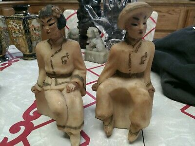 Chinese Alabaster Soapstone Painted Carved Statue Figurine pair Vintage/antique