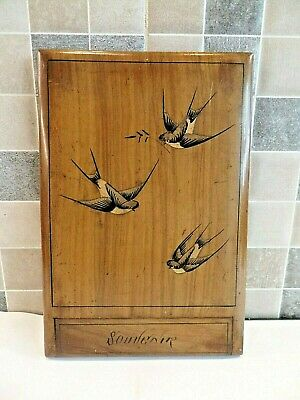 EARLY 20thC SORRENTO WARE OLIVEWOOD FOLDING TRAVEL MIRROR INLAID WITH SWALLOWS