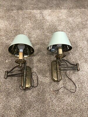 PAIR OF VINTAGE Chapman Brass Wall Sconces with Orginal Shades Swing Arm EUC