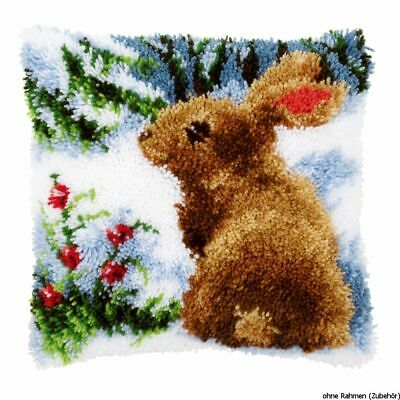Vervaco Latch hook kit cushion Rabbit in the snow, DIY