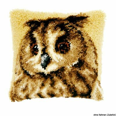 Vervaco Latch hook kit cushion Brown owl, DIY