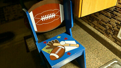 Wooden Childs Chair Folding Step Stool Toddlers Boys Football Baseball Table