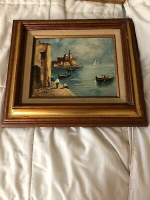 Antique Oil Painting In A Wood Steinway & Sons Frame