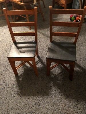 "Vintage Pair Children""s Ladder Back Wooden Chairs With Vinyl Seats"