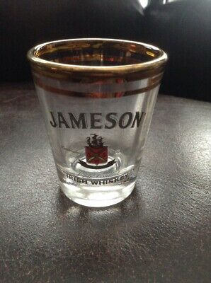 New Jamison Irish Whiskey Gold Rim Bar Tasting Drink Glass Green Tea Car Bomb