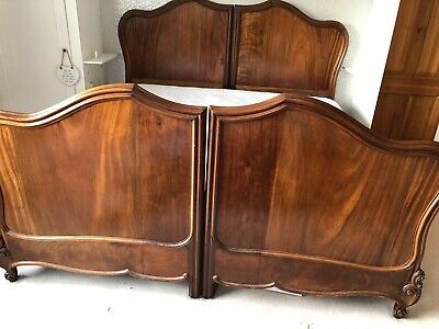 Extra Wide Antique Mahogany Bed Frame On Original Runners