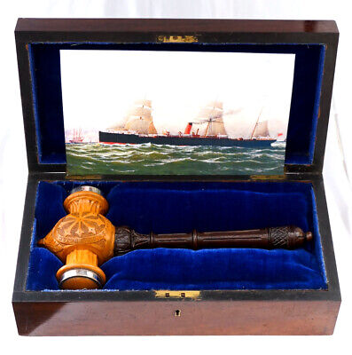 Historic Boxwood & Silver Plate Trophy Gavel. Cunard Line SS Pavonia Launch 1882