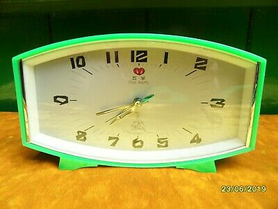 Five Rams Vintage Made In China Rare Green Alarm Clock.