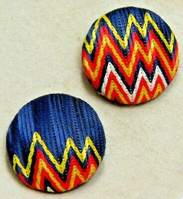 Antique Vintage BUTTONS Pair of Vibrant Colors on Blue Silk Fabric C2