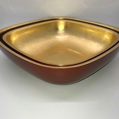 Two Red and Gold Mid Century Lacquer Dishes