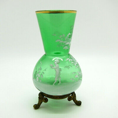 Antique Green Glass Mary Gregory Vase on Brass Feet Boy with Flowers