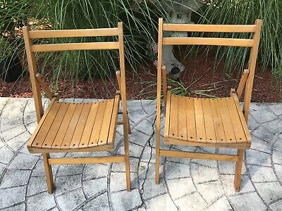 Set of 2 Vintage, wooden slat, Easy folding chairs Mid Century Modern Oak? Nice!