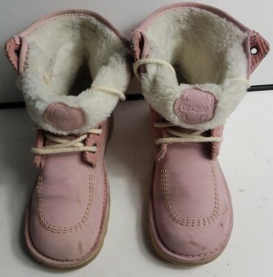 Kickers Girls Womens White Fur Pink Leather Ankle Winter Boots Size Uk 4 Eu 37