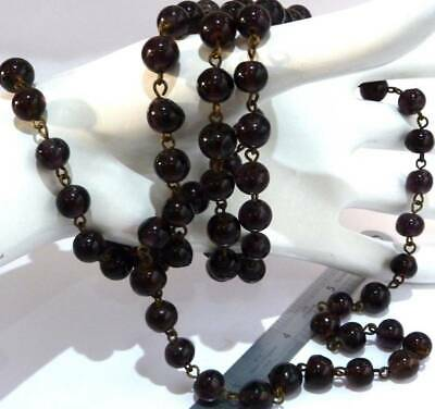 ANTIQUE ART DECO c 1930s AMETHYST GLASS WIRE CHAIN FLAPPER  BEADS LONG NECKLACE,