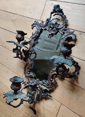 Antique Rococo Style Brass Wall Mirror Candle Sconce