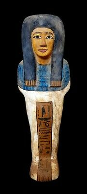 Very Rare Huge Ancient Egyptian Royal polychrome overseer Ushabti hieroglyphic