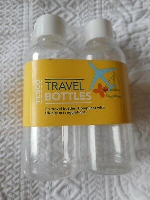 Travel Clear Bottles  X 2 100ml Carry On Pack Toiletries Holiday BRAND NEW