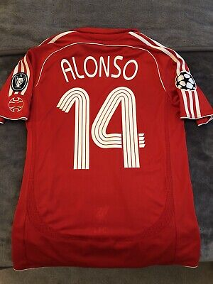 Liverpool FC Adidas Home Shirt 2006/08 Champions League Alonso - Size Small
