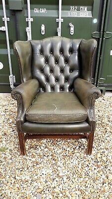 Green Leather Wing Back Chair Queen Anne Chesterfield Armchair