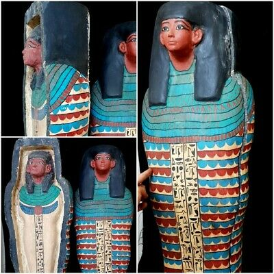 Rare Large Egyptian Antiquities Wooden coffin antique Burial priest hieroglyphic