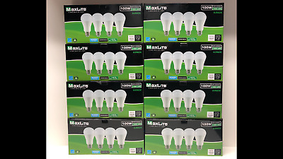Lot of 100 MAXLITE Light Bulbs 15W LED Same as 100W Dimmable Daylight Long Life