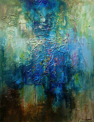 Blue Green modern TEXTURED abstract painting on canvas Big Wall Art by Osnat