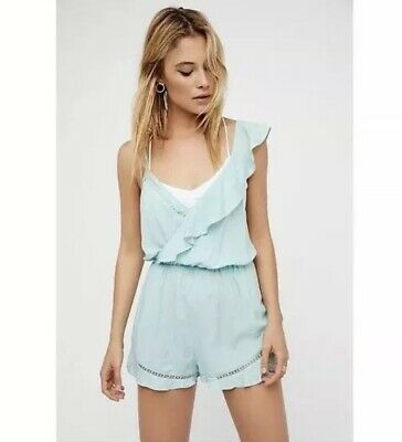 Free People Womens Romper Mint Sleeveless and Backless Size Small