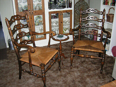 Antique Karpen Colonial Ladderback Chairs With Arms & Rush Seat  Pickup Only