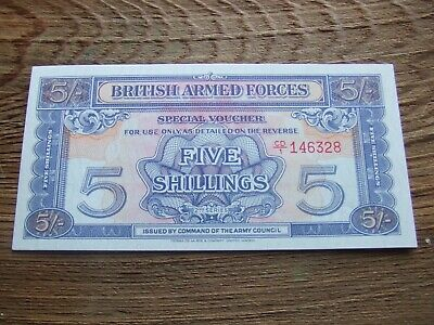BRITISH ARMED FORCES.  FIVE SHILLINGS NOTE, 2nd SERIES.   SUPERB MINT CONDITION