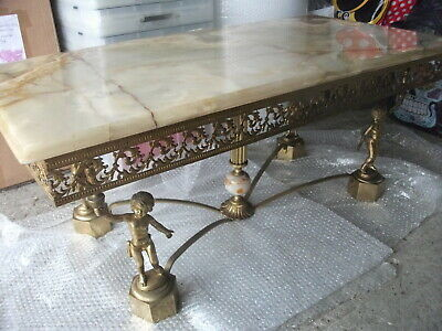 Rare Onyx Marble And Brass Coffee Table Maison Jansen French Antique