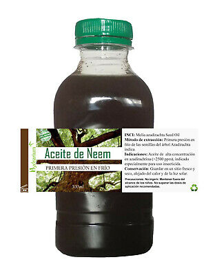 Aceite de Neem virgen, alta azadiractina 500 ml. Virgin Neem Oil 500 ml