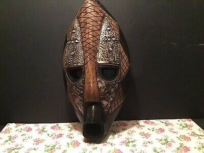 Vintage African Ghanaian Tribal Hand Carved Sese Wood Mask