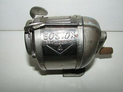 Vintage BOSTON #4 SELF FEEDER Metal Pencil Sharpener Wall/Desk Mount Made in USA