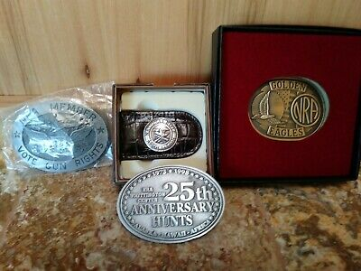 Mixed lot of 3 Vintage NRA Belt Buckles and a Leather Money Clip New in Box NIB