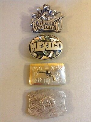 LOT OF 4 VINTAGE METAL BRASS ADVERTISING BELT BUCKLES Country Western Gun Horse