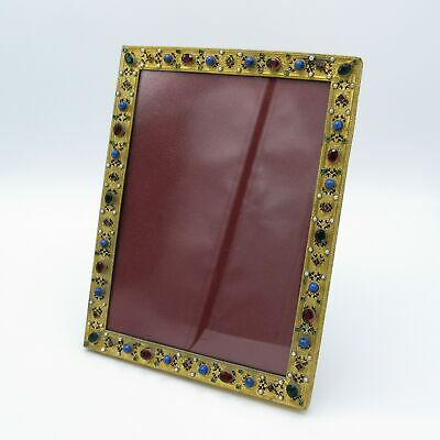 Antique Jeweled and Pearls Brass Picture Photo Frame, NR