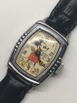 Pink Floyd Bob Geldof Mickey Mouse Ingersoll 1930s Wrist Watch 5 Notch Working