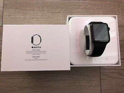 Apple Watch Series 1 42mm Stainless Steel Case Black Sport Band -