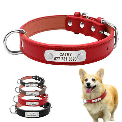 Soft PU Leather Personalized Dog Collars Metal ID Pet Name Engraved Plate S M L