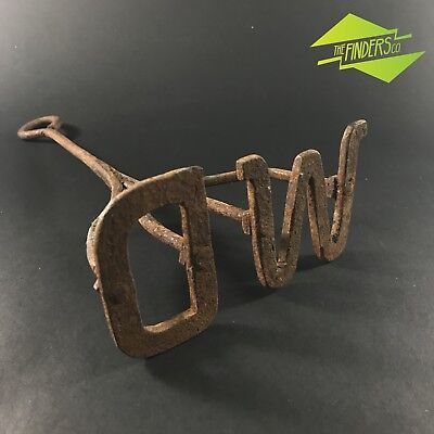 Vintage Rustic Hand Forged Letter 'Wd' Branding Iron Farming Livestock Tool
