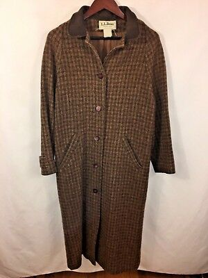 We'Ll Bean Gabardina Lana / Tweed Abrigo Mediano Mujer Largo Forro Vintage