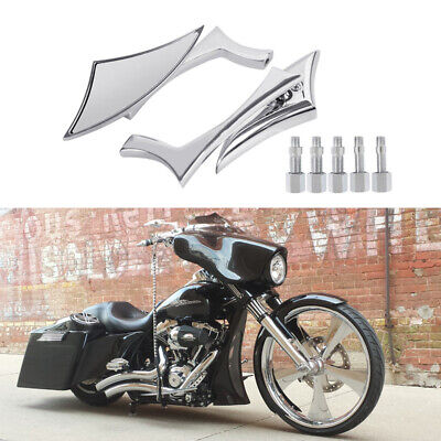 CHROME BILLET CUSTOM MIRRORS AND GRIP COMBO FIT HARLEY MOTORCYCLE UNIVERSAL