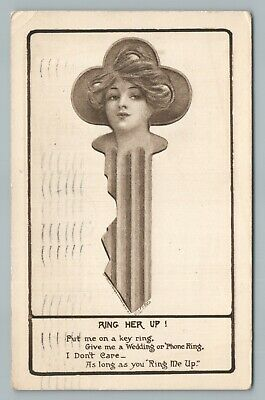 """""""Ring Her Up"""" Woman as Key—Metamorphic Antique Fantasy Postcard 1910"""