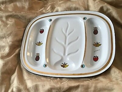 GEORGES BRIARD Meat Serving Tray Enamelware Platter MCM CONVERSATION PIECE