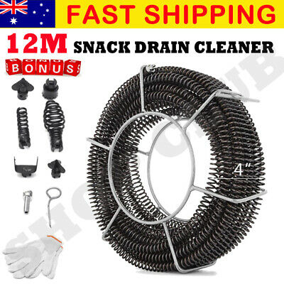 Plumber Drain Snake Pipe Pipeline Sewer Cleaner 12M w 6 Drill Bit for Drill Kit