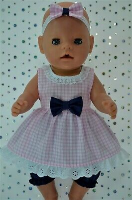 """Play n Wear Doll Clothes For 17"""" Baby Born GINGHAM DRESS~BLOOMERS~HEADBAND"""