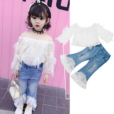 2PCS Toddler Kid Baby Girls Clothes Off Shoudler Tops+Denim Pants Summer Outfits